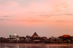The beauty of the Kenjeran beach in Surabaya, Indonesia. In the afternoon with fishing houses lined up stock photo