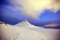 Beauty of Kirkjufell mountain with water falls Royalty Free Stock Images