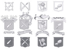 Beauty Kit. Set of Cosmetics in heraldic style - Objects grouped and layered Stock Photo