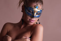 Beauty Lady with carnival mask. Beauty lady with carnival blue mask Royalty Free Stock Image