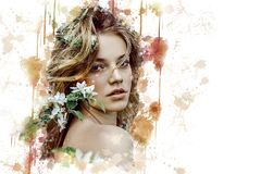 Beauty, Lady, Girl, Flower Royalty Free Stock Images