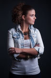 Beauty Lady with jeans jacket Royalty Free Stock Photography