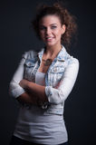 Beauty Lady with jeans jacket Royalty Free Stock Images