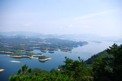 The beauty of the lake. Thousand island lake, thousand island, xiushui, gold belt (island surrounded with water as a layer of golden yellow soil zone royalty free stock image
