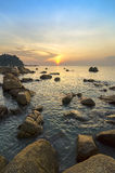 Beauty landscape with sun rising over sea Stock Images