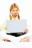 Beauty with laptop Stock Photos