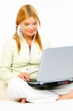 Beauty with laptop Stock Photography