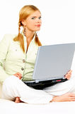Beauty with laptop Royalty Free Stock Photos