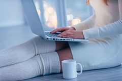 Beauty with laptop. Stock Photography