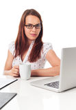 Beauty, laptop and cup Royalty Free Stock Photo
