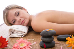 Beauty at the lastone massage Stock Photo