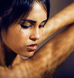 Beauty latin young woman in depression, hopelessness look, fashi. On makeup modern Royalty Free Stock Photo