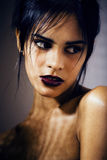 Beauty latin young woman in depression, hopelessness look, fashi. On makeup modern close up Royalty Free Stock Photo