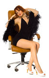 Beauty in Leather Armchair Royalty Free Stock Images