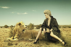 Beauty and lion. Fashion image beauty and lion royalty free stock photography