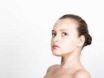 Beauty Lip Makeup Detail. Cute model with clean shiny skin. expresses different emotions Stock Photography