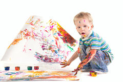Beauty Little Boy Is Drawing Stock Images