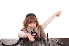 Beauty little girl dj Stock Photos