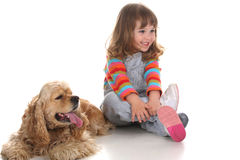 Beauty a little girl and dog Stock Photo