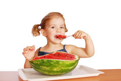 Beauty little girl eating watermelon Royalty Free Stock Photo