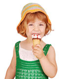 Beauty little girl with ice cream Stock Images