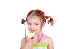 Beauty little girl with ice cream Stock Image