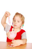 Beauty little girl with ice cream cup Stock Image