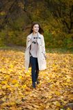 Beauty little girl walking in autumn park royalty free stock photo