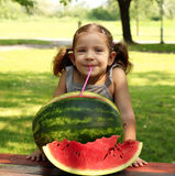 Beauty little girl with watermelon Royalty Free Stock Image