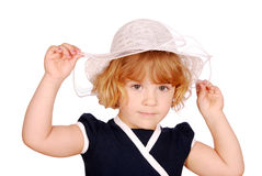Beauty little girl with white hat Royalty Free Stock Photography