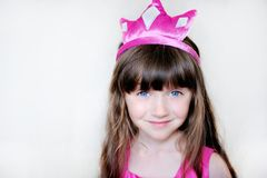 Beauty little princess with pink tiara Stock Photo