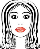 Portrait of pretty woman. Illustration of attractive woman  drawn in black and white  except for nice red lips, white background Royalty Free Stock Image