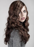 Beauty with long blond hair stock images