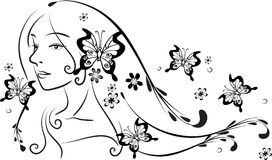 Beauty with long hair vector. Drawing design Stock Photography