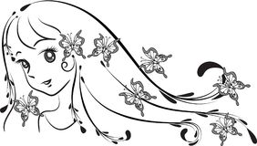 Beauty with long hair vector. Drawing design Royalty Free Stock Image