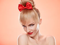 Beauty loving woman smiling, skincare. Pinup Royalty Free Stock Photos