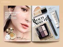 Beauty magazine design. Set of makeup products mockup with charming model portrait in 3d illustration, magazine or catalog brochure template for design uses vector illustration