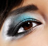 Beauty make-up. Colored style make-up on the woman eye stock photos
