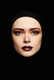 Beauty make-up.beautiful woman face like a mask. female mask isolate on black Royalty Free Stock Images