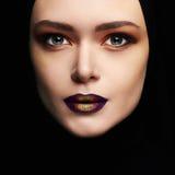 Beauty make-up.beautiful woman face like a mask. female mask isolate on black Stock Images