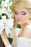 Beauty make up of blonde young woman Stock Photography
