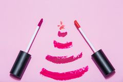Beauty make up cosmetic set with christmas decoration royalty free stock photos