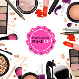 Beauty Make Up Design for Salon, Courses, MakeUp Artists. Cosmetic Products, Professional Make Up, Care. Printable Template for Bu Royalty Free Stock Image