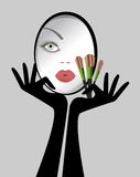 Beauty - Make-up Mirror womens face Brushes Royalty Free Stock Photo
