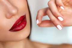 Beauty Make-up. Sexy Model Girl With Red Lips, Beautiful Nails Royalty Free Stock Photos