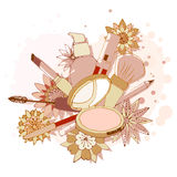 Beauty Make Up Tools Art Drawing, Vector Illustration Royalty Free Stock Images