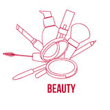 Beauty Make Up Tools Set, Contour Vector Illustration Stock Images