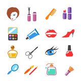 Beauty  and make up vector colored icons Royalty Free Stock Photos