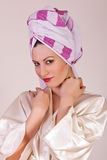 Beauty make up. Woman with towel on her head Royalty Free Stock Photos