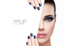 Beauty and Makeup Concept. Blue Nail Art and Make-up. Beauty Makeup and Nai Art Concept. Beautiful fashion model woman with smoky eye makeup in blue to match her stock photos